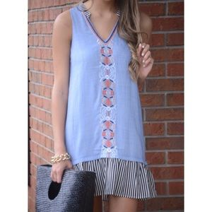 NWT THML Chambray Embroidered Dress Sz M